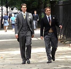 Left WILLIAM VAN CUTSEM at the wedding of Nicholas Van Cutsem to Alice Hadden-Paton at The Guards Chapel, Wellington Barracks, London on 14th August 2009.