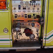 Vakantie Miami Amerika, brandweerwagen, ladderwagen engine 10, bedieningspaneel