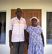 Juliet Greenaway and her husband James, former farmers from Dyres in the south. Thousands were evacuated from their homes in the south of the island after it was abandoned after the 1995 and 1997 eruption of the Soufriere Hills volcano. The southern area which contained most of the farm land is still out of bounds to everyone except scientists..Photo©Steve Forrest/Workers Photos