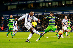 Victor Anichebe of West Bromwich Albion shoots - Mandatory byline: Rogan Thomson/JMP - 02/02/2016 - FOOTBALL - The Hawthornes - West Bromwich, England - West Bromwich Albion v Swansea City - Barclays Premier League.