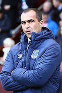 Everton Manager Roberto Martinez looks on prior to kick off. Barclays Premier league match, Burnley v Everton at Turf Moor in Burnley, Lancs on Sunday 26th October 2014.<br /> pic by Chris Stading, Andrew Orchard sports photography.