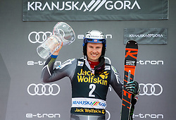 Second placed KRISTOFFERSEN Henrik of Norway celebrates at trophy ceremony after the Audi FIS Alpine Ski World Cup Men's Slalom 58th Vitranc Cup 2019 on March 10, 2019 in Podkoren, Kranjska Gora, Slovenia. Photo by Matic Ritonja / Sportida