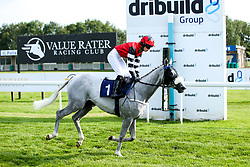 """Silver Character ridden by Ella McCain and Trained by Donald McCain in the """"""""Hands and Heels"""""""" Apprentice Handicap - Mandatory by-line: Robbie Stephenson/JMP - 27/08/2019 - PR - Bath Racecourse - Bath, England - Race Meeting at Bath Racecourse"""