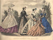 Colour drawing of Godey's women's Fashion for June from Godey's Lady's Book and Magazine, 1864 Philadelphia, Louis A. Godey, Sarah Josepha Hale,