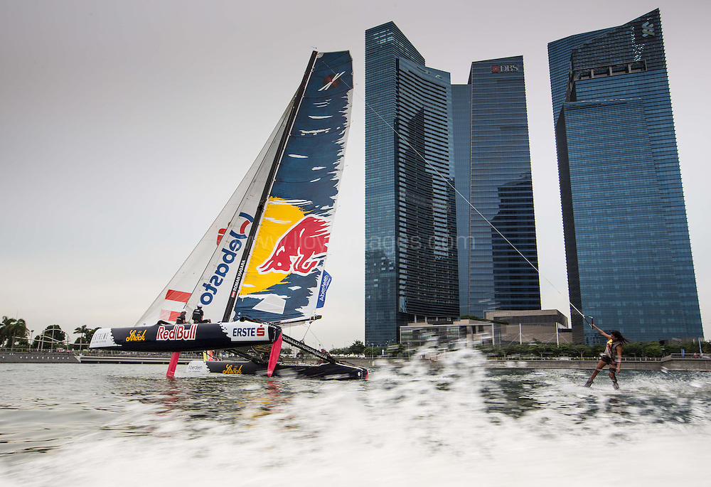 The Extreme Sailing Series 2013. Act2. Singapore. Red Bull Wakeboarder Sasha Christian.Please credit: Lloyd Images