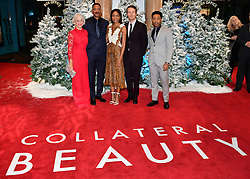 Dame Helen Mirren, Will Smith, Naomie Harris, Edward Norton and Jacob Latimore attending the European premiere of Collateral Beauty, held at the Vue Leicester Square, London.