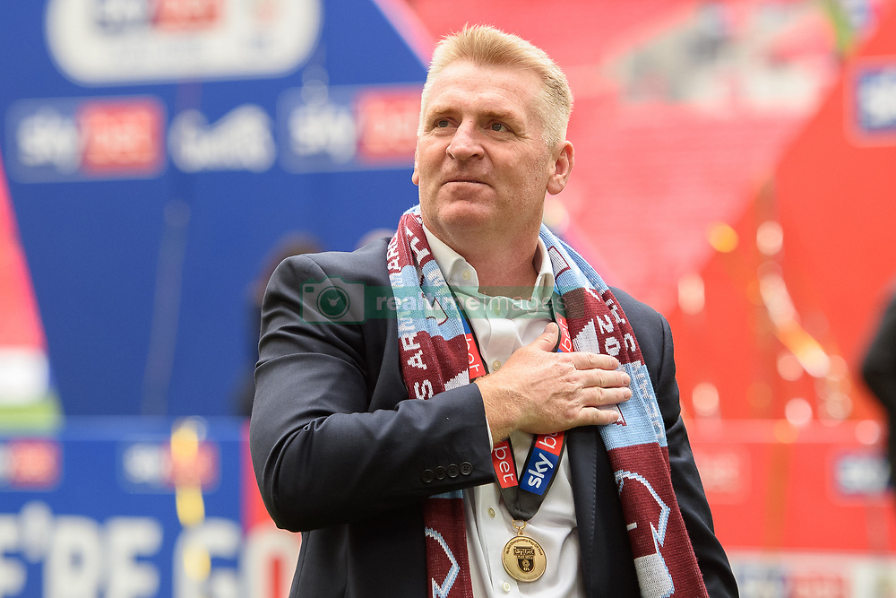 May 27, 2019 - London, England, United Kingdom - Aston Villa Manager Dean Smith puts his hand on his chest during the Sky Bet Championship match between Aston Villa and Derby County at Wembley Stadium, London on Monday 27th May 2019. (Credit: Jon Hobley   MI News) (Credit Image: © Mi News/NurPhoto via ZUMA Press)