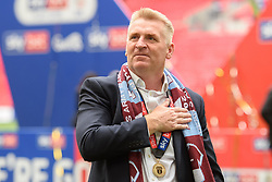 May 27, 2019 - London, England, United Kingdom - Aston Villa Manager Dean Smith puts his hand on his chest during the Sky Bet Championship match between Aston Villa and Derby County at Wembley Stadium, London on Monday 27th May 2019. (Credit: Jon Hobley | MI News) (Credit Image: © Mi News/NurPhoto via ZUMA Press)
