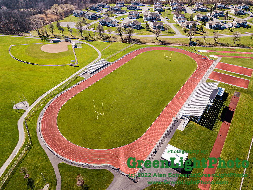 April 3, 2020: Retouched image of Elmer L. Gordon Stadium located on the campus of Rush Henrietta High School near Rochester, NY.