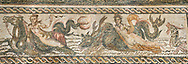 Picture of a Roman mosaics design depicting Orpheus, god of museic surrounded by animals charmed by his music, from the ancient Roman city of Thysdrus. 2nd century AD. El Djem Archaeological Museum, El Djem, Tunisia. .<br /> <br /> If you prefer to buy from our ALAMY PHOTO LIBRARY Collection visit : https://www.alamy.com/portfolio/paul-williams-funkystock/roman-mosaic.html . Type - El Djem - into the LOWER SEARCH WITHIN GALLERY box. Refine search by adding background colour, place, museum etc<br /> <br /> Visit our ROMAN MOSAIC PHOTO COLLECTIONS for more photos to download as wall art prints https://funkystock.photoshelter.com/gallery-collection/Roman-Mosaics-Art-Pictures-Images/C0000LcfNel7FpLI