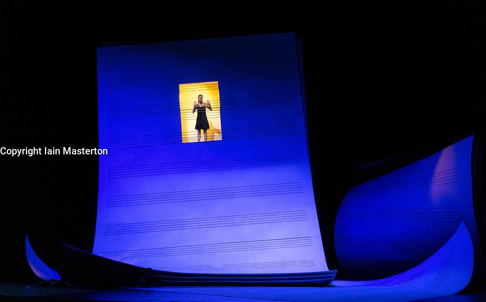 Edinburgh, Scotland, UK; 4 August, 2018. Dress rehearsal of Barber of Seville opera by Gioachino Rossini at Festival Theatre during Edinburgh International Festival. Co-production of Theatre des Champs Elysees, Opera National de Bordeaux, Opera de Marseille, Theatres de la Ville de Luxembourg, Stadttheater Klagenfurt, Opera de tours.