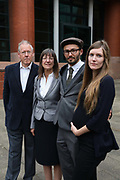 "Simon Roscoe Blevins with his father, mother and sister, Trevor, Rosalind and Fern the morning before sentencing, September 26 2018, Preston crown court,Preston, United Kingdom. Simon Roscoe Blevins, 26,  Richard Roberts, 36 were both sentenced 16 months in prison, Richard Loizou, 31, sentenced 15 months in prison and  and Julian Brock, 47 12 months supended. Simon Roscoe Blevins, 26,  Richard Loizou, 31, Richard Roberts, 36 and Julian Brock, 47 climbed on top of several trucks during a mass protest by locals and supporters in New Preston Road, against fracking in Lancashire, July 2017. The trucks were prevented form delivering equipment to Cuadrillas nearby fracking site for four days. After a seven day jury trial at Preston Crown Court in August 2018, the four men were found guilty of Public Nuisance. Judge Altham has told them to expect ""immediate custodial sentences"" on 25th September 2018."