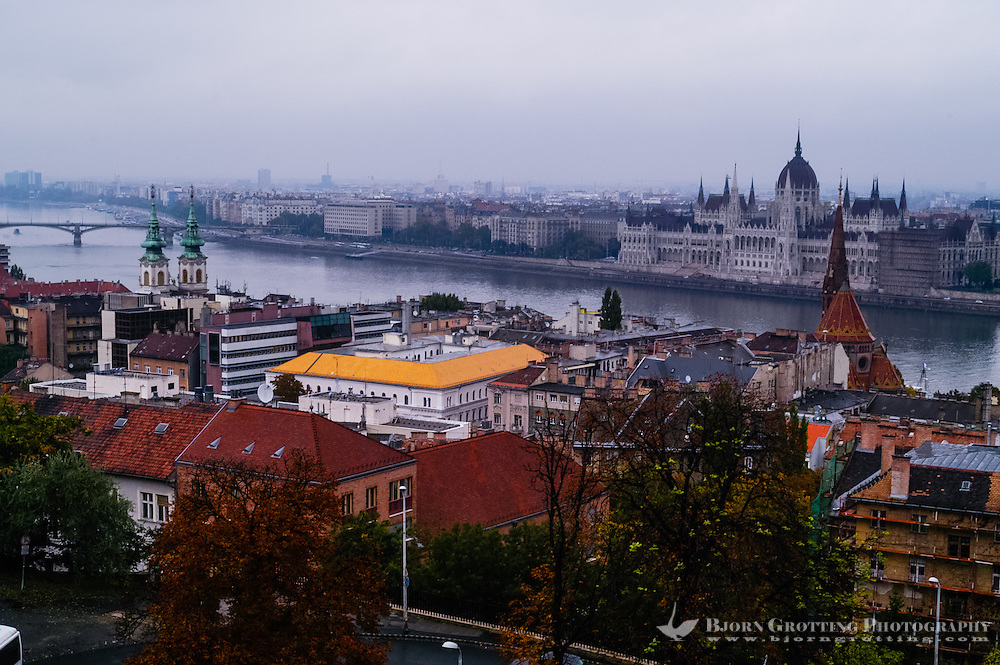 Budapest, Hungary.  View from Castle Hill. Danube and the Parliament.
