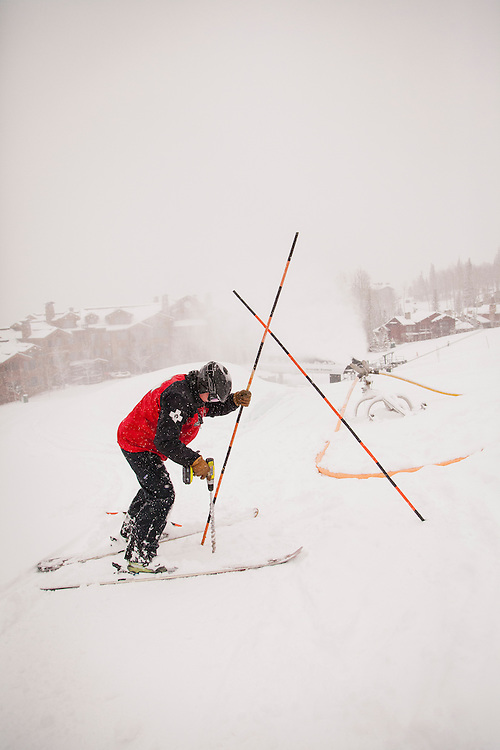 Tim Strand setting up the runs at Deer Valley.