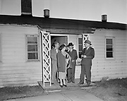 Y-481011B. Housing Authority visits Swan Island. October 11, 1948