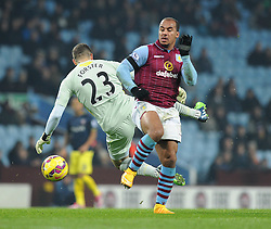 Southampton's Fraser Forster misses the ball which allows Aston Villa's Gabriel Agbonlahor to go through on goal and score - Photo mandatory by-line: Dougie Allward/JMP - Mobile: 07966 386802 - 24/11/2014 - SPORT - Football - Birmingham - Villa Park - Aston Villa v Southampton - Barclays Premier League