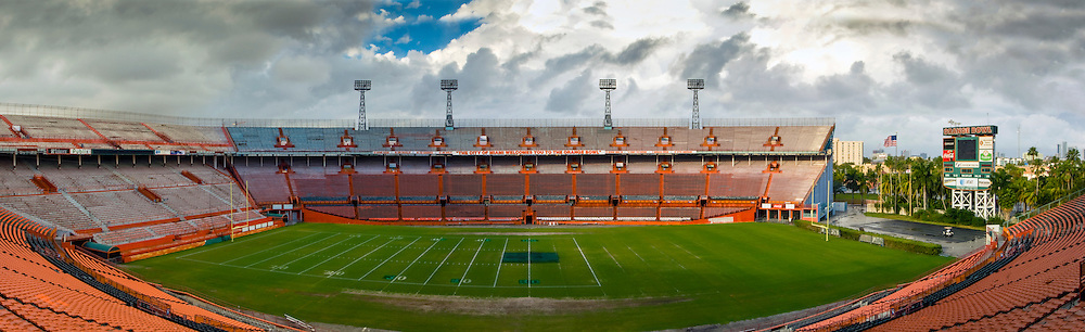 The Orange Bowl Stadium in Miami.  Host to five Super Bowls and former home of the University of Miami Hurricanes.  Demolished in 2008.