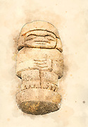 Digitally enhanced image Pre-Columbian statue from Colombia
