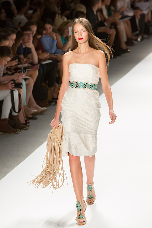 White damask strapless dress with turquoise and silver belt. By Carlos Miele at the Spring 2013 Mercedes-Benz Fashion Week in New York.