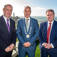 REPRO FREE<br /> Minister Jim Daly TD; Cllr. Alan Coleman, Chair of the Bandon Kinsale District and Cormac Fitzgerald, Fitzgerald and Partners pictured at the launch of the hugely popular 'Doing Business in Kinsale 2019/20' guide at the Old Head Golf Links by Minister Jim Daly TD<br /> Picture. John Allen