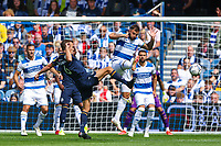 Football - 2021/2022  Sky Bet EFL Championship - Queens Park Rangers vs Millwall - Kiyan Prince Foundation Stadium - Saturday 7th August 2021.<br /> <br /> Charlie Austin (Queens Park Rangers) and Maikel Kieftenbeld (Millwall FC)  compete for the loose ball <br /> <br /> COLORSPORT/DANIEL BEARHAM