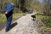 Welsh sheep farmer Howell Williams and his sheep dog Ben walking up to the water source of his 15kW micro hydro power plant producing electricity at Abercrave Farm on the Brecon Beacons, Wales.