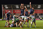 Newcastle Falcons scrum-half Sonatane Takuluaclears the ball under pressure from three Sale Sharks during the The Aviva Premiership Round 2 match Sale Sharks -V- Newcastle Falcons at The AJ Bell Stadium, Salford, Greater Manchester, England on Friday, September 8, 2017. (Steve Flynn/Image of Sport)