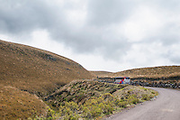 Tour bus on the road to Antisana Ecological Reserve, Ecuador