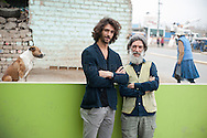 Sal and Francesco  Giaquinta outside the venue of the project Sin Fronteras a Jicamarca, extreme outskirts of Lima