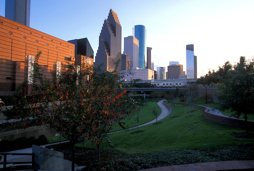 Wortham Center and Houston, Texas skyline in the afternoon.
