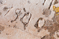 Ancient Graffiti at the Poseidon Temple in Sounion, Greece.