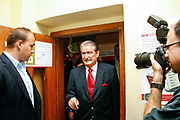 Albanian Prime Minister and leader of the Democratic Party arrives at a local polling station to cast his ballot in Tirana, Albania on Sunday, Jun 28, 2009. Albanians are voting to elect the 140 members of the Albanian Parliament. The EU will closely watch the entire elections process, they said, stressing that 'international and European standards' must be met by Albania, which formally applied for EU membership in April, but has not moved forward since. (Photo by Vudi Xhymshiti)