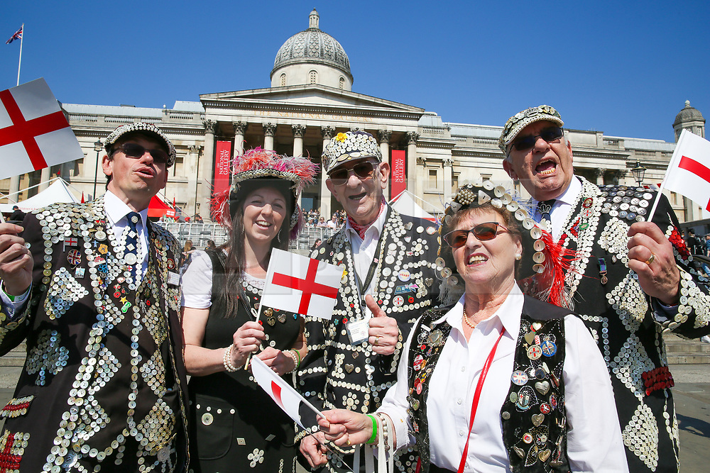 © Licensed to London News Pictures. 20/04/2019. London, UK. 'Pearly Kings and Queens' attend the annual 'Feast of St George' event in Trafalgar Square, to celebrate the Patron Saint of England. St George's Day is on 23 April. Photo credit: Dinendra Haria/LNP