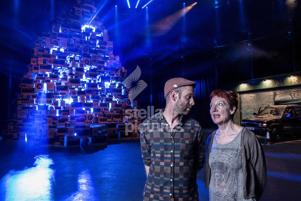 Penny Woolcock lead artist  (right) with Gideon Berger half of design team, 'Block 9'  at Utopia, Roundhouse, Camden<br /> Picture by Daniel Hambury/Stella Pictures Ltd +44 7813 022858<br /> 03/08/2015