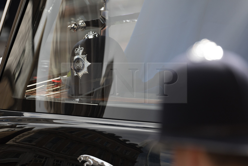 © Licensed to London News Pictures. 10/04/2017. LONDON, UK.  The procession and funeral cortege of PC Palmer leaving Southwark Cathedral in London, where a full police funeral took place this afternoon. <br /> PC Keith Palmer was stabbed to death whilst on duty in Westminster by terrorist extremist Khalid Masood last month.  Photo credit: Vickie Flores/LNP