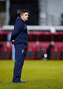 Sale Sharks Head Coach Paul Deacon watches as the players warm up during a Gallagher Premiership Round 7 Rugby Union match, Friday, Jan. 29, 2021, in Leicester, United Kingdom. (Steve Flynn/Image of Sport)