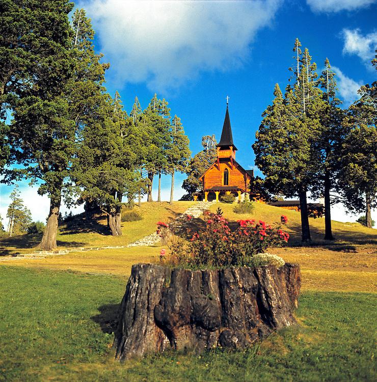 A quaint wooden chapel is part of the Llao Llao complex in Nahuel Huapi National Park, Argentina.