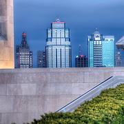 View toward Kansas City MO skyline looking past the base of Liberty Memorial.