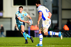 Ollie Devoto of Exeter Chiefs is marked by Thibault Lassalle of Castres Olympique - Mandatory by-line: Ryan Hiscott/JMP - 13/01/2019 - RUGBY - Sandy Park Stadium - Exeter, England - Exeter Chiefs v Castres - Heineken Champions Cup