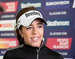 Gleneagles, Scotland, UK; 8 August, 2018.  Day one of golf competition at Gleneagles.. Men's and Women's Team Championships Round Robin Group Stage - 1st Round. Four Ball Match Play format. Gleneagles for the European Championships 2018. Georgia Hall speaks to the press after her and Laura Davies of team GB beat Spain 5 and 4.