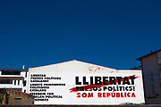 Llibertat Presos Politics - Free Political Prisoners mural in Cadaques, Catalonia, Spain. Mural calling for release of Catalan politicians and civil society leaders who were jailed for their part in the 2017 independence referendum.