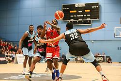 Jalan McCloud of Bristol Flyers scrambles for the ball - Photo mandatory by-line: Arron Gent/JMP - 28/04/2019 - BASKETBALL - Surrey Sports Park - Guildford, England - Surrey Scorchers v Bristol Flyers - British Basketball League Championship