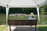 """Henley on Thames, United Kingdom, 22nd June 2018, Friday,   """"Henley Women's Regatta"""",  view, A lone spectator, watches a heat of the Women's Four, Temple Island, Henley Reach, River Thames, England, © Peter SPURRIER/Alamy Live News"""