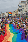 The annual Brighton Pride parade on the 3rd August 2019 in Brighton in the United Kingdom.