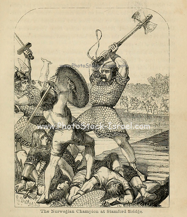 The Norwegian Champion at Stamford Bridge From the Book 'Danes, Saxons and Normans : or, Stories of our ancestors' by Edgar, J. G. (John George), 1834-1864 Published in London in 1863