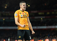 Football - 2019 / 2020 Premier League - Arsenal vs. Wolverhampton Wanderers<br /> <br /> Diogo Jota (Wolverhampton Wanderers) celebrates after his team equalise at The Emirates Stadium.<br /> <br /> COLORSPORT/DANIEL BEARHAM