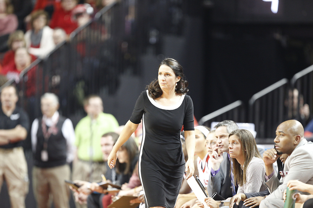 Nebraska Cornhuskers head coach Amy Williams during Nebraska's 84-41 loss to No. 1-ranked UConn at Pinnacle Bank Arena in Lincoln, Neb. on Dec. 21, 2016. Photo by Aaron Babcock, Hail Varsity