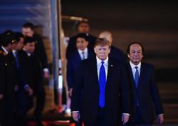 Feb. 26, 2019 - Hanoi, Vietnam - U.S. President DONALD TRUMP (front) arrives at an airport in Hanoi, Vietnam. Trump arrived in Vietnam's capital Hanoi on Tuesday night to meet with Kim Jong Un, top leader of the Democratic People's Republic of Korea. (Credit Image: © Xinhua via ZUMA Wire)