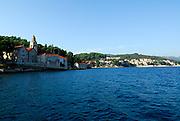 Dominican Church and Monastery of Saint Nicholas (Sveti Nikola), viewed from the sea. Island of Korcula, Croatia.