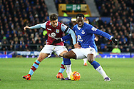 Romelu Lukaku of Everton shields the ball from Ashley Westwood of Aston Villa. Barclays Premier League match, Everton v Aston Villa at Goodison Park in Liverpool on Saturday 21st November 2015.<br /> pic by Chris Stading, Andrew Orchard sports photography.